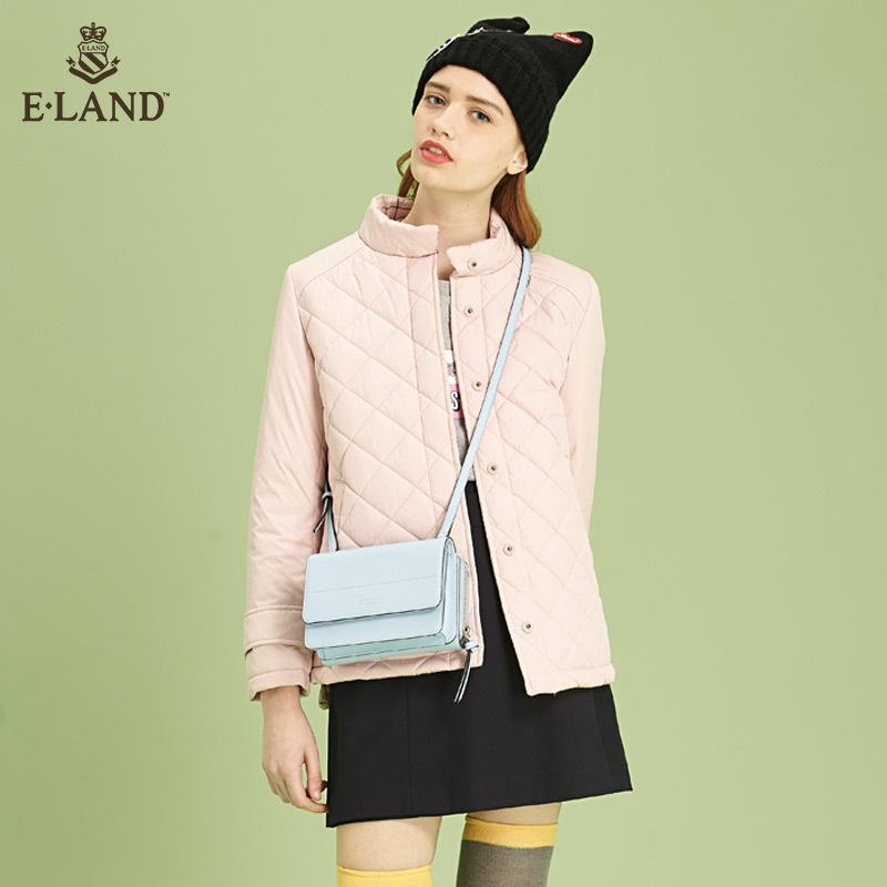 2件9折|ELAND17年春季新品方格压线立领夹克薄棉服EEJP71151M