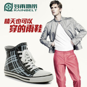 RAINBELT handsome graying men low tube boots fishing water shoes boots canvas men's warm and velvet