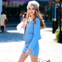 Small fields breathe sweet suit pink doll summer 2015 new female fashion celebrity cotton pants suit