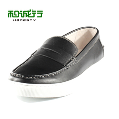 And grey sheep in summer 2015 new Le Fu shoes men's casual shoes, leather flat bottom lazy men shoes 0040126