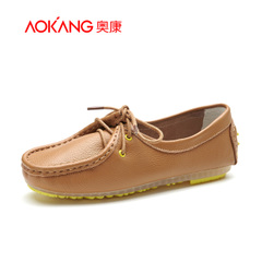 Aokang shoes fall 2015 new comfortable leather straps round the simple flat heel casual driving shoe