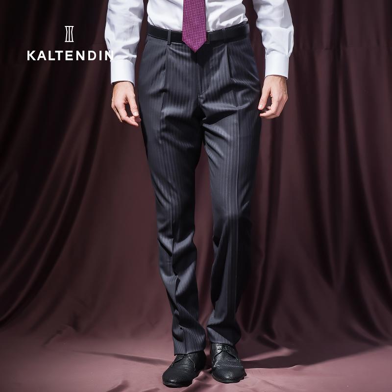 卡尔丹顿KALTENDIN商场同款男士商务正装西裤直筒羊毛混纺西裤