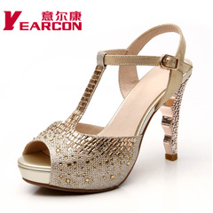 YEARCON/er Kang 2015 spring and summer styles end of Korean beef fish mouth leather high heel rhinestone sandal