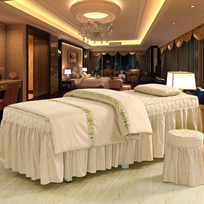 缇妃韩式纯色亲肤棉美容床罩四件套美容院专用SPA按摩床定做 拍下149元包邮