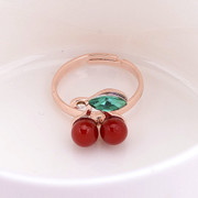 Good classic cherry colored diamond ring fashion women jewelry Korea sweet tail ring