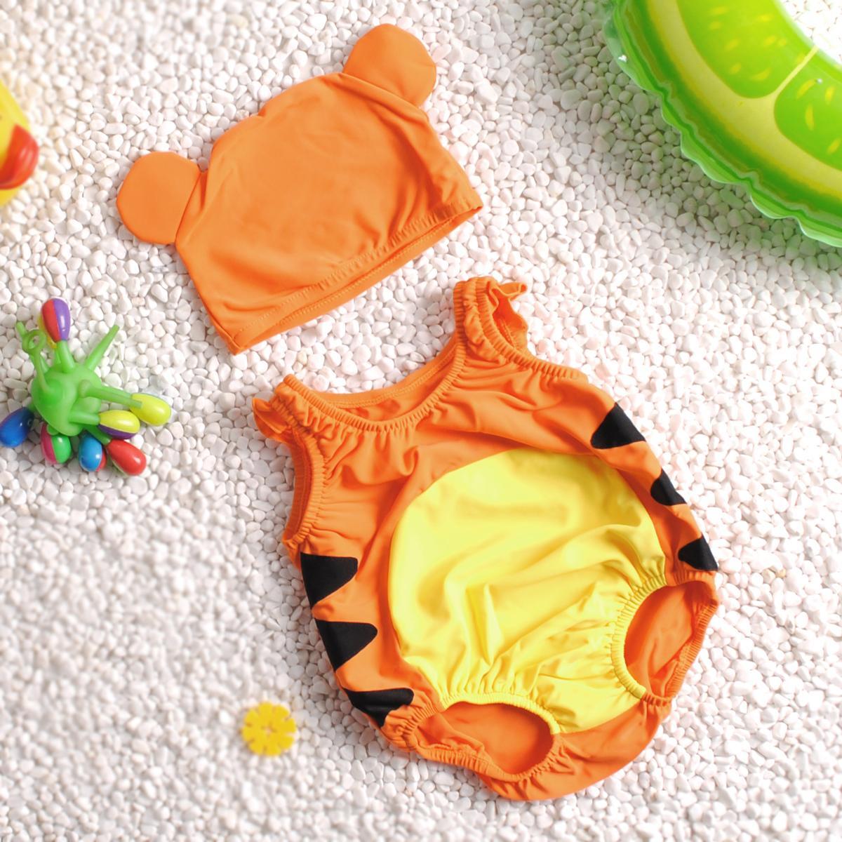 男宝宝连体泳裤婴幼儿泳衣游泳装小童两件套女孩泳帽温泉可爱
