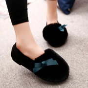 Korean version of the 2015 new autumn and winter peas shoes women rabbit fur light increases in cashmere and cotton scoop shoes flats casual student shoes