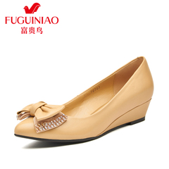 Fuguiniao shoes with authentic Korean bow leather Ballet flats pointed wedges shoes women