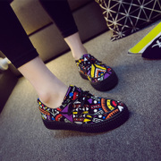 2015 fall thick-soled platform with new graffiti canvas strap casual shoes women students Shoes Sneakers Korean version