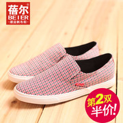 Becky fall 2015 new low men's Plaid breathable Korean pedal lazy canvas leisure shoes