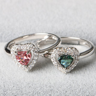 Pro-Bao tourmaline Crystal old pit simple silver jewelry 925 Silver ring ladies open Valentine''s day gifts