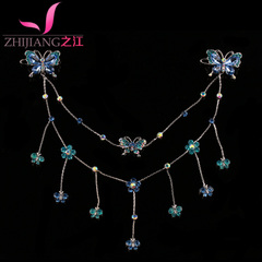 Bridal tiara costume frontlet between river head with jade pendant chain Princess Butterfly hairpin clip hair accessories
