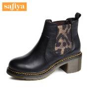 Safiya/Sophia 2015 winter new style leather Leopard print mixed colors bold high heel ankle boots shoes SF54117015