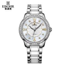 依波表女表 潮流时尚白色陶瓷手表石英表女士防水正品腕表1100