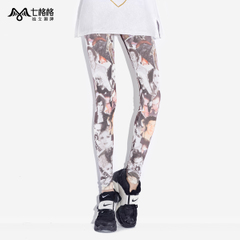 Seven space space OTHERMIX character print stretch pants slimming with bound feet wearing footless tights