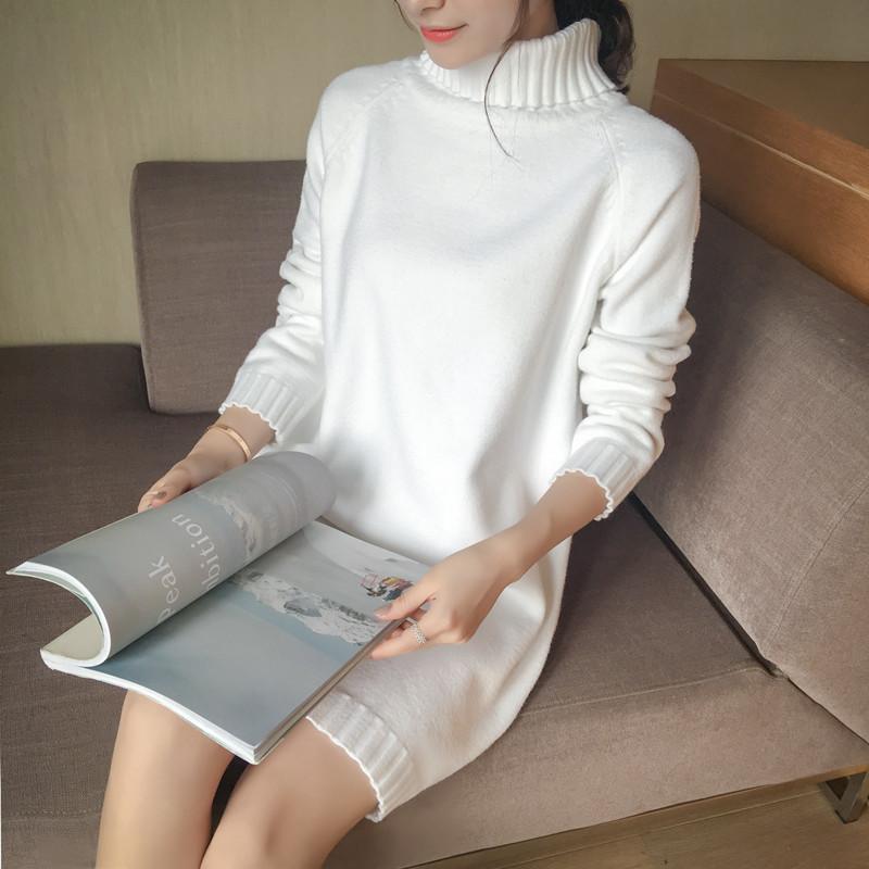2017秋鼕新女裝韓版中長款寬松大碼加厚高領純色針織衫打底毛衣女