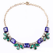 Package mail jewelry fashion Joker short bi-glass necklace pendant ladies blue collar bone chain