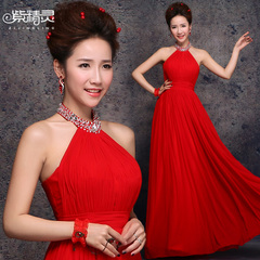 Purple Fairy wedding dresses bride new 2015 summer red toasting hanging neck dress shirts dress