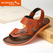 Red Dragonfly leather sandals in summer 2015 authentic new Korean version of the dual-use fashion thong sandal shoes