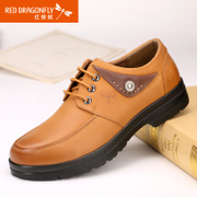 Red Dragonfly autumn new authentic Korean fashion leather men's shoes Department wear casual men shoes