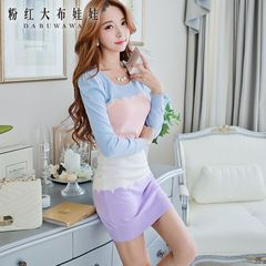 2015 spring dress big pink doll new light blue colour matching slim knit sweater dress
