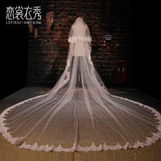 恋裳衣秀新款韩式蕾丝花边大拖尾头纱超长款新娘结婚婚纱头纱定制