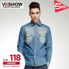 Viishow2015 spring for the new slim fit shirt long sleeve washed denim shirts men's shirts