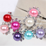 Cool na Korean version of the u-shaped insert hairpin clip hairpin bride imitation Pearl pin rhinestone hairpin hair 6114