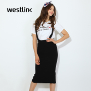 Westlink/West in the spring of 2016 new knit pencil skirt slit long skirt high waist suspenders skirt women