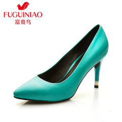 Fuguiniao shoes with genuine leather shoes autumn new tide sexy pointed shoes stiletto high heels