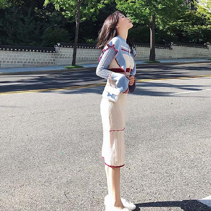 2020年女装早秋法式梗桔初恋egg很仙法国小众约会针织连衣裙秋冬