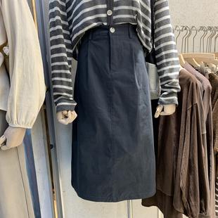 东大门女装2020年秋季新款韩版时尚高腰显瘦a字裙中长款棉半身裙图片