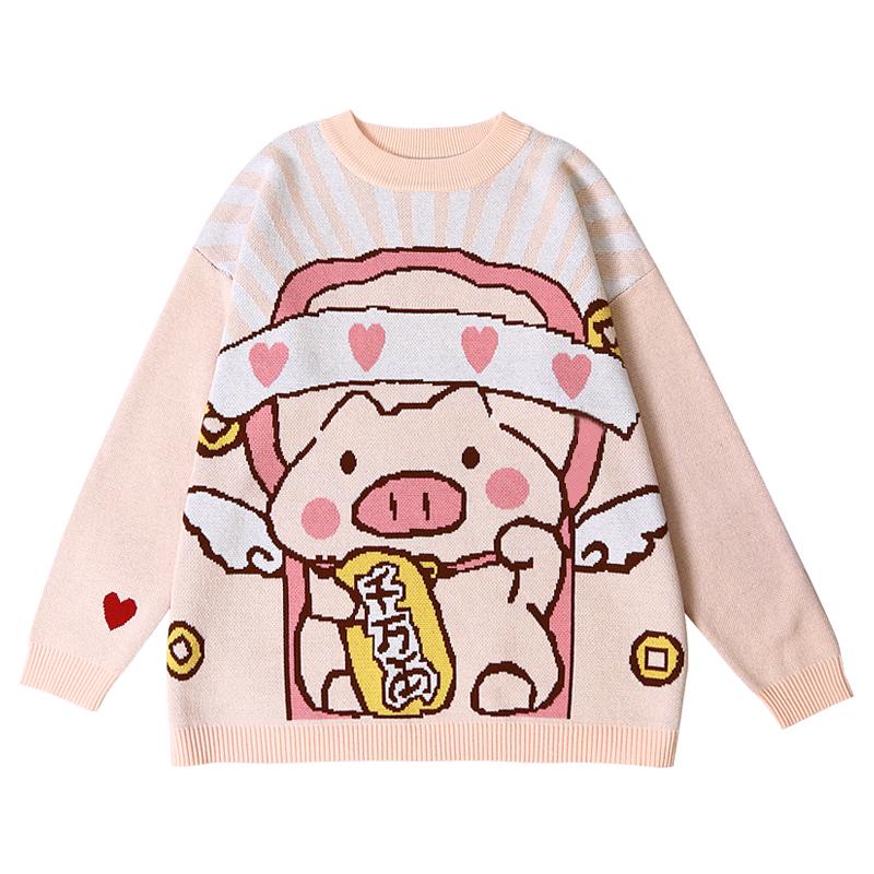 日系秋冬新款浅粉色可爱猪猪秋装新款圆领长袖宽松纯棉舒适毛衣女