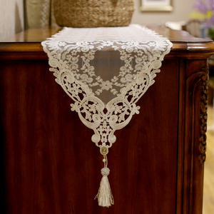 beautydream European lace embroidery romantic dining table flag beige coffee table table flag tablecloth TV cabinet cover towel