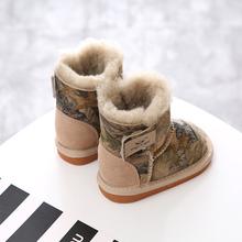 宝宝防水雪地靴女岁羊皮毛一体hf11童短靴jw底学步鞋