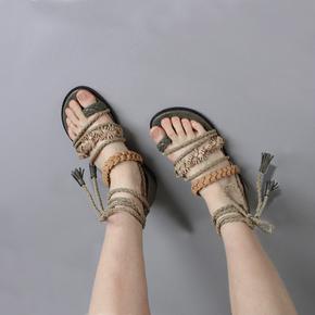 罗马绑带凉鞋女夏2018新款夹趾平底度假凉鞋民族风编织沙滩鞋学生