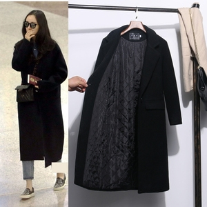 The same Korean version of the slim long cashmere student plus cotton woolen coat thickened over the knee woolen coat women