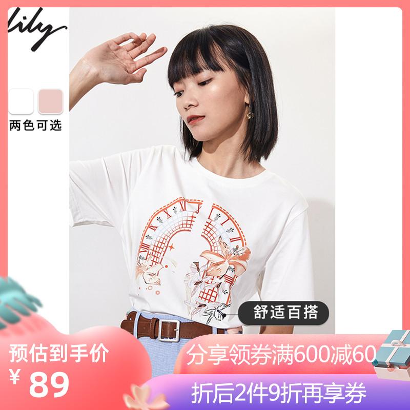 点击查看商品:Lily2020夏季新款女装纯棉印花宽松休闲圆领轻薄白色短袖上衣T恤