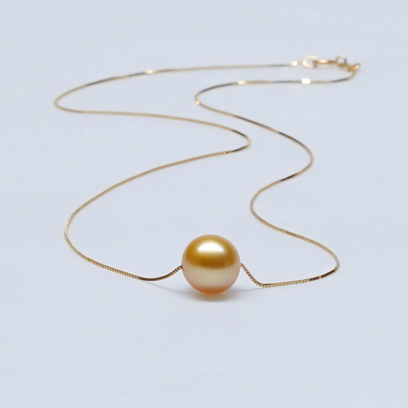 海水珍珠吊坠南洋母贝珍珠项链925银万能链穿心珠路路通转运珠锁