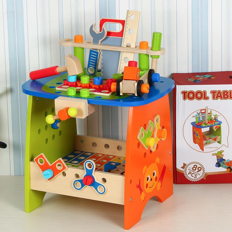 儿童木质拆装工具台仿真过家家玩具螺丝螺母拼装修理益智动手玩具