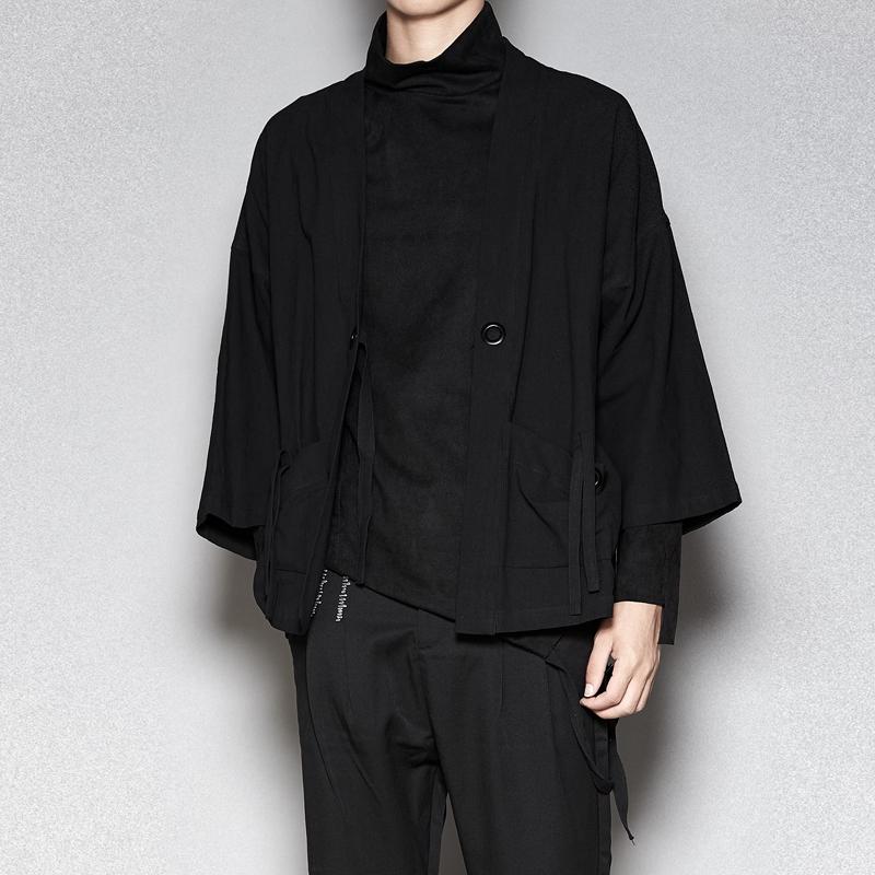 原创潮流男装 暗黑系立体裁剪3色七分袖秋开衫 时尚披风衣薄夹克