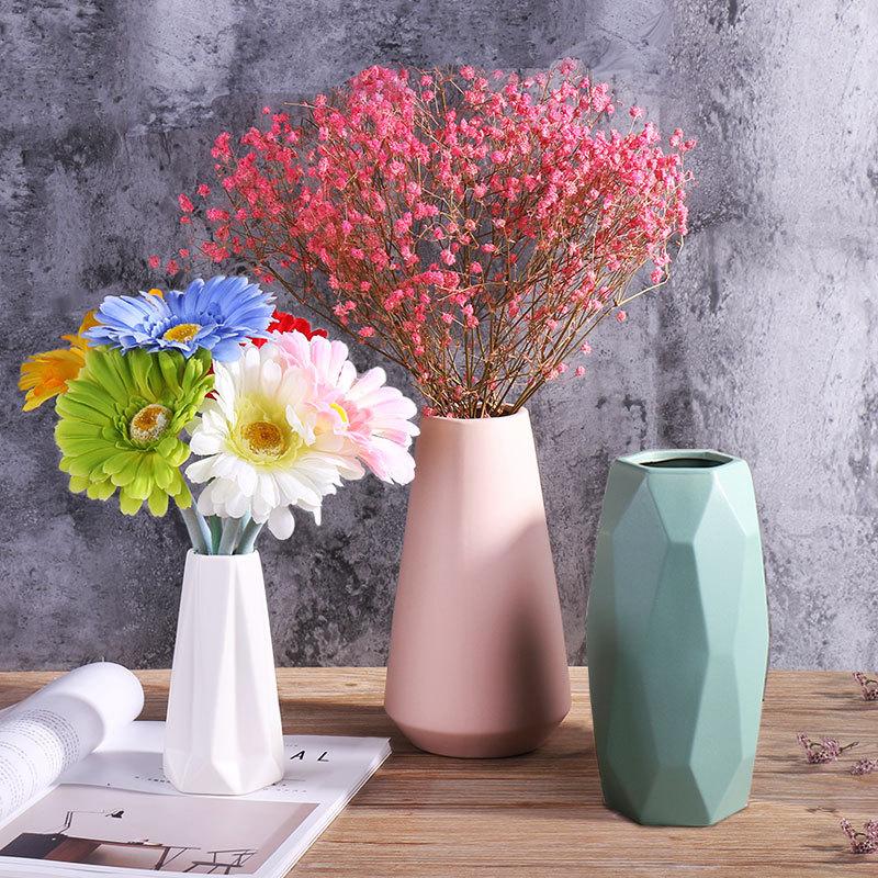 陶瓷干花花瓶小清新欧式简约现代白色家居客厅餐桌满天星插花摆件