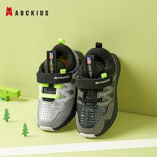 abckids童鞋男童2020年秋冬款儿童运动鞋魔术贴中小童跑步鞋黑色图片