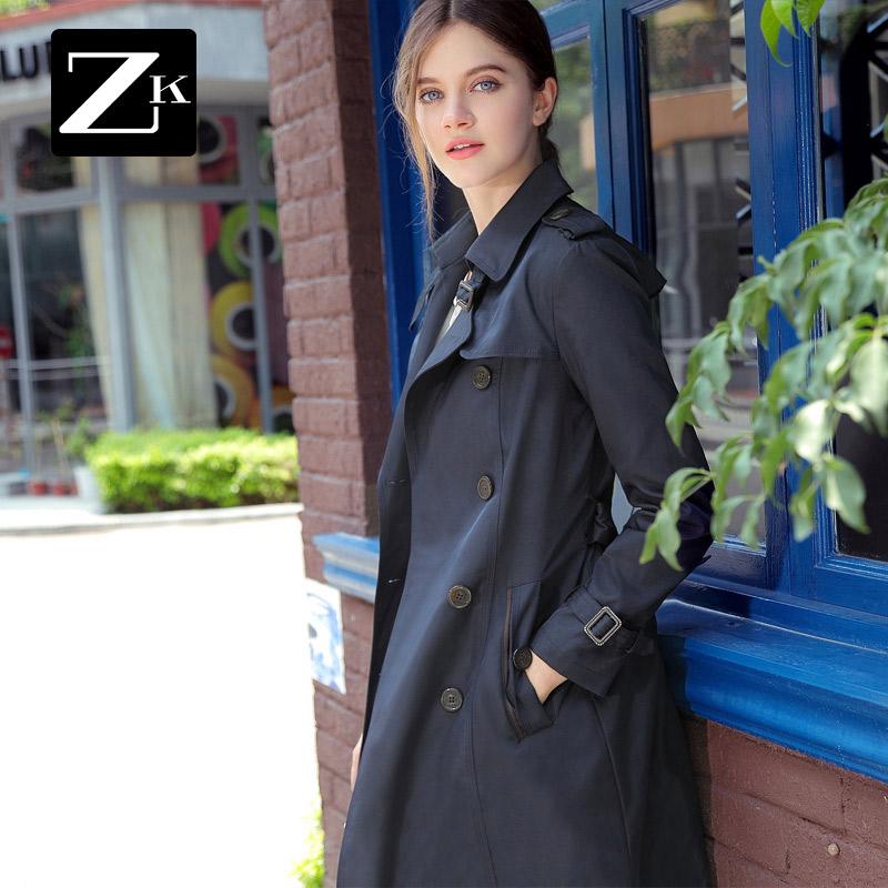 ZK双排扣风衣港风时尚秋冬季长袖休闲外套女中长款韩版2017新款BC