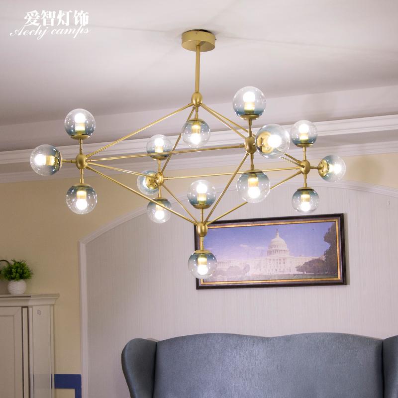 后现代个性创意时尚客厅玻璃吊灯美式简约分子灯具魔豆灯餐厅吊灯