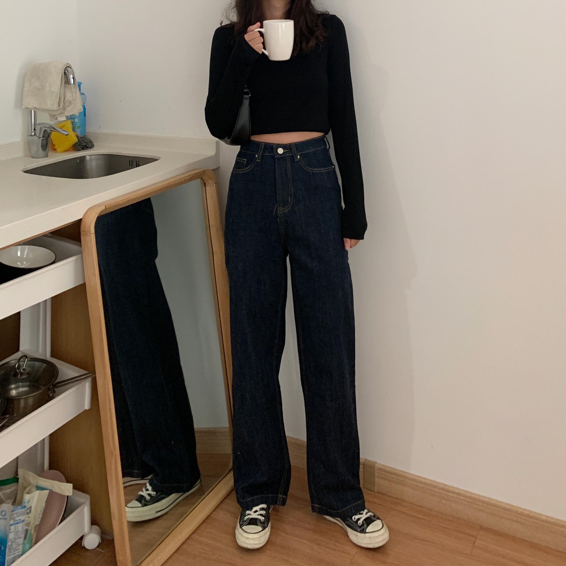 大码深色牛仔裤女高腰胖妹妹宽松阔腿直筒显瘦适合胯大腿粗的裤子