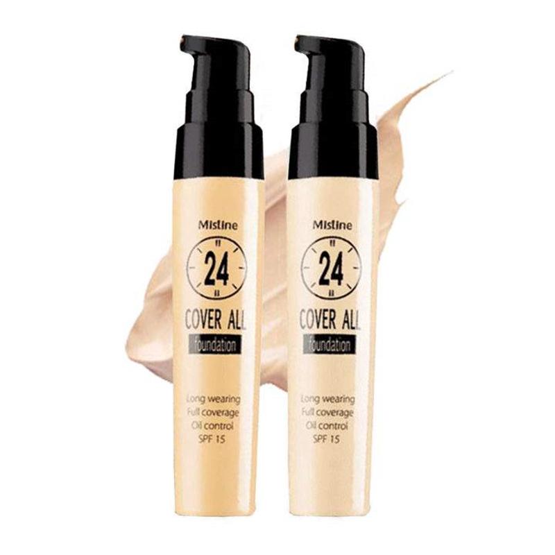 泰国正品Mistine粉底液遮瑕保湿24小时不脱妆粉底液隔离控油