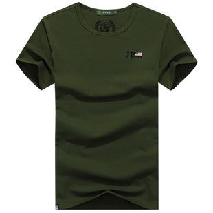 新款男装短袖T恤战地吉普男士纯棉纯色圆领大码宽松男体恤衫夏季