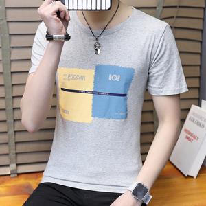 男士短袖t恤圆领纯棉印花半袖夏季韩版潮流男装宽松体桖打底衣服