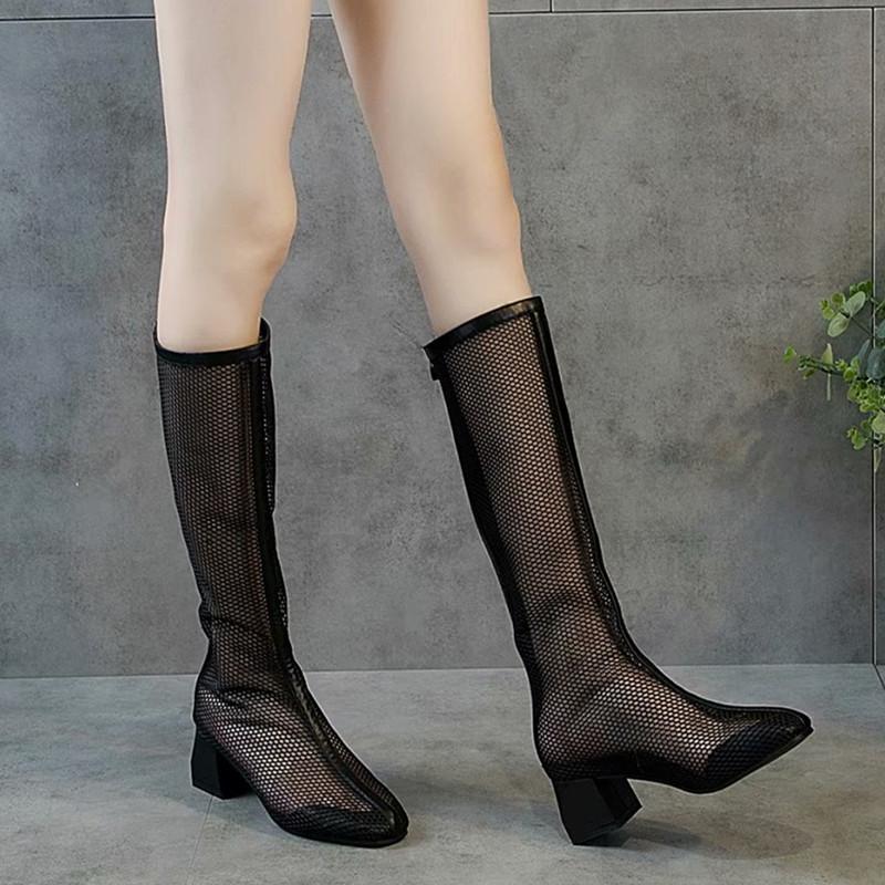 2019夏季新款透气高筒靴韩版春款网纱镂空凉靴女单靴子中跟长靴夏
